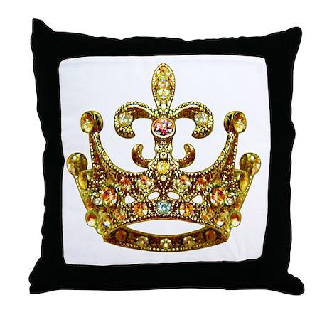 Fleur de lis Crown Jewels Throw Pillow by artegrity
