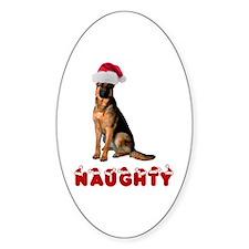 Naughty German Shepherd Sticker (Oval)