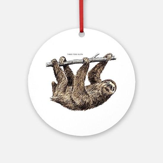 Three-Toed Sloth Ornament (Round)