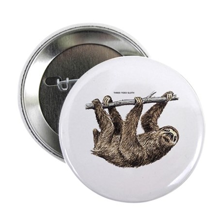 """Three-Toed Sloth 2.25"""" Button"""