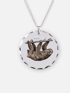 Three-Toed Sloth Necklace Circle Charm