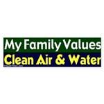 Clean Air and Water Bumper Sticker