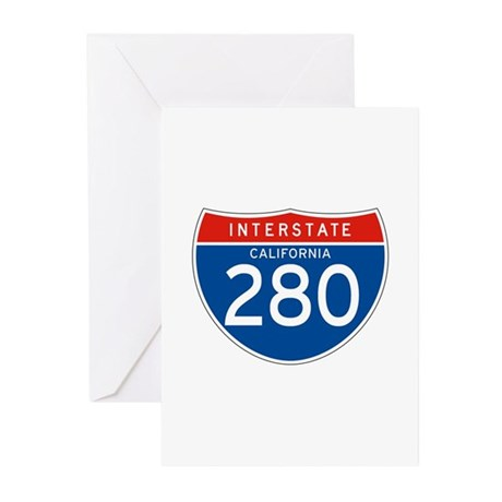 Interstate 280 - CA Greeting Cards (Pk of 10)