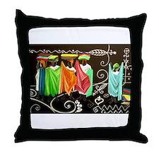 Market Haiti Art Throw Pillow