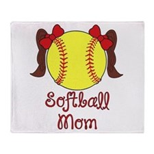 Softball mom brown hair Throw Blanket