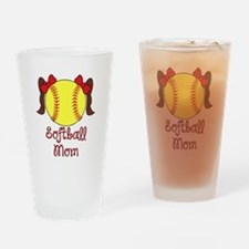 Softball mom brown hair Drinking Glass