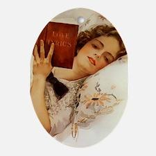 Fisher Girl Reader Lady Vintage Oval Ornament