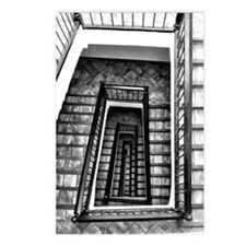 Black and white stairs Postcards (Package of 8)