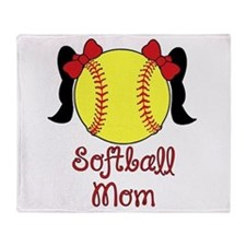 Softball mom black hair Throw Blanket
