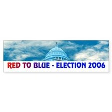 RED TO BLUE Bumper Bumper Sticker