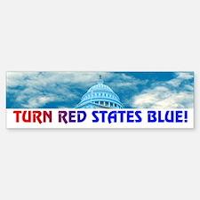 TURN RED STATES BLUE! Bumper Bumper Bumper Sticker
