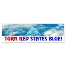 TURN RED STATES BLUE! Bumper Bumper Sticker