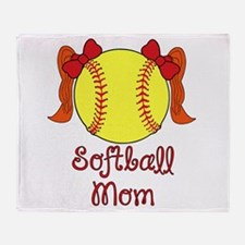 Softball mom red head Throw Blanket