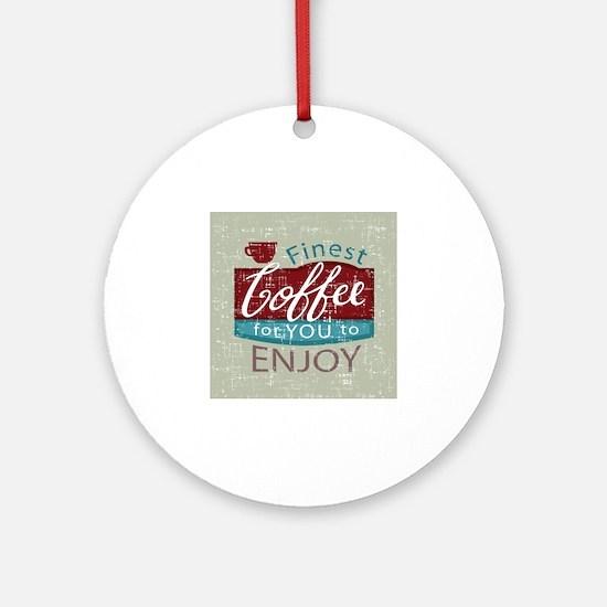 retro style coffe shop advert Round Ornament