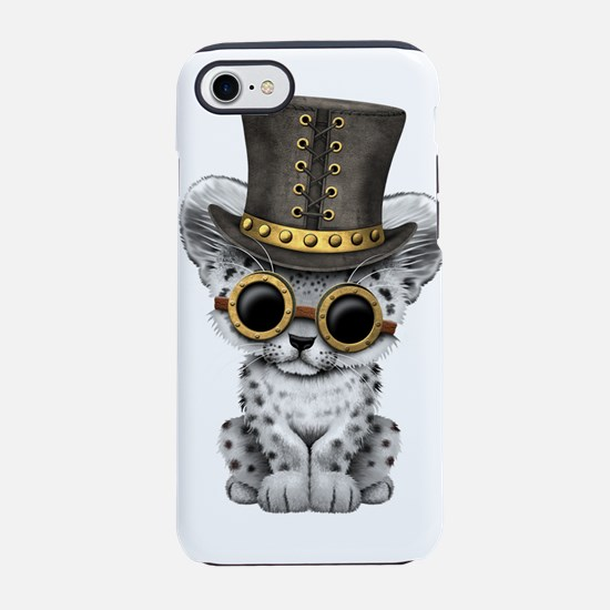 Cute Steampunk Snow Leopard Cub iPhone 7 Tough Cas