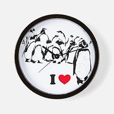 I -heart- Penguins Wall Clock