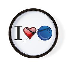 I heart bowling Wall Clock