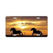 Sunset with horses Aluminum License Plate