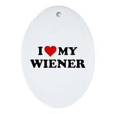 I Love My Wiener Ornament (Oval)