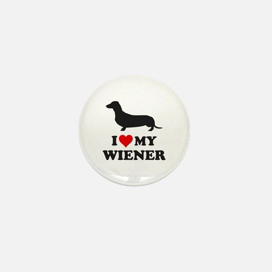 I Love My Wiener Mini Button