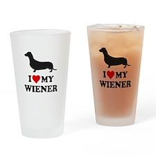I Love My Wiener Drinking Glass