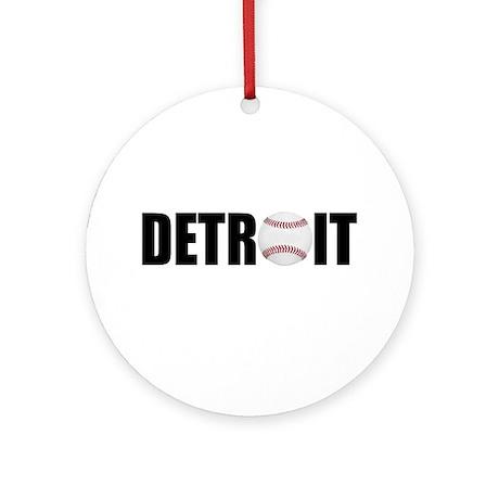 Detroit Baseball Ornament (Round)