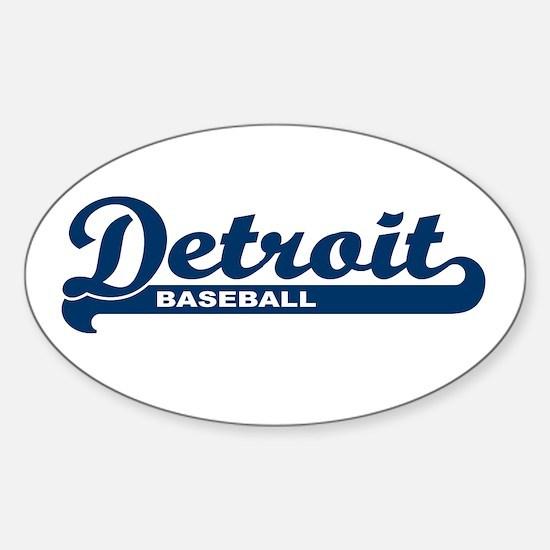 Detroit Baseball Script Oval Decal