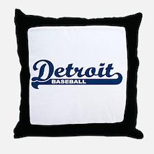 Detroit Baseball Script Throw Pillow