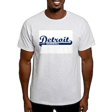 Detroit Baseball Script Ash Grey T-Shirt