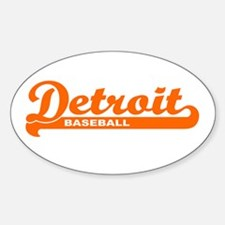 Detroit Baseball Script Oval Decal