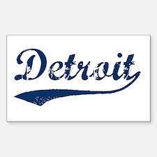 Detroit Script Distressed Rectangle Decal
