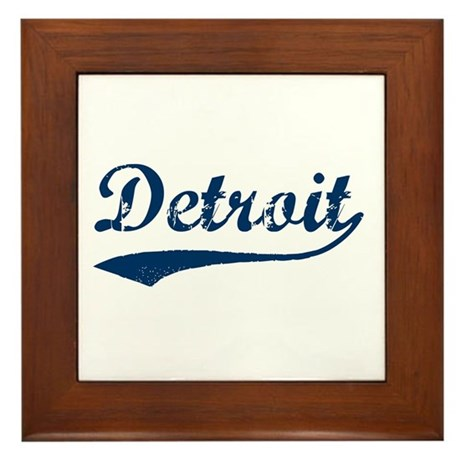 Detroit Script Distressed Framed Tile