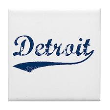 Detroit Script Distressed Tile Coaster