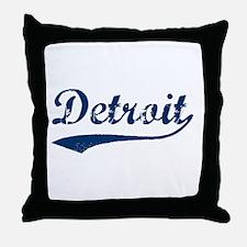 Detroit Script Distressed Throw Pillow