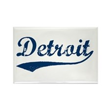 Detroit Script Distressed Rectangle Magnet