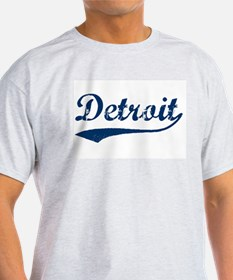 Detroit Script Distressed Ash Grey T-Shirt