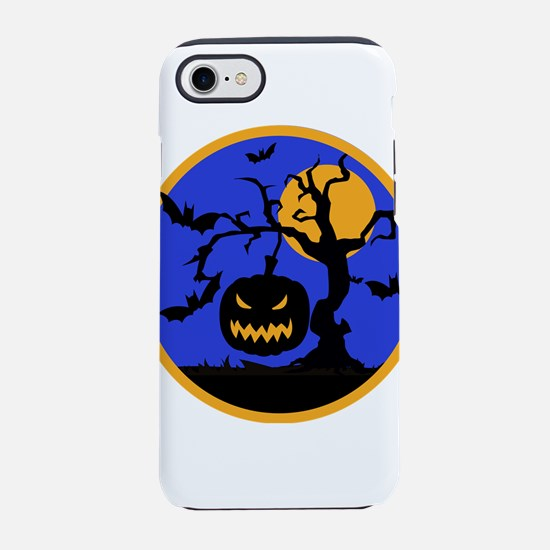 Scary pumpkin face hanging fro iPhone 7 Tough Case
