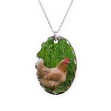 Free range chicken in meadow Necklace