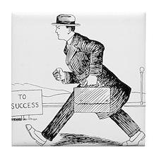 Vintage Man Road to Success Work Tile Coaster