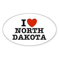 I Love North Dakota Oval Decal