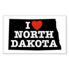 I Love North Dakota Rectangle Decal