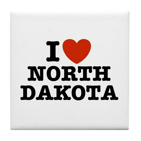 I Love North Dakota Tile Coaster
