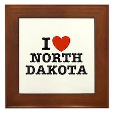 I Love North Dakota Framed Tile