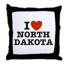 I Love North Dakota Throw Pillow