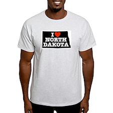 I Love North Dakota Ash Grey T-Shirt