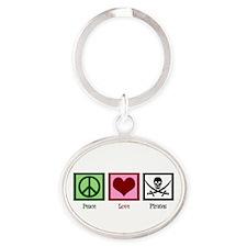 Peace Love Pirates Oval Keychain