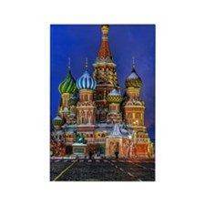 St Basil's cathedral at night Rectangle Magnet