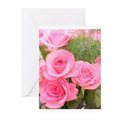 Pink Rose Bouquet Greeting Cards (Pk of 10)