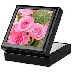 Pink Rose Bouquet Keepsake Box