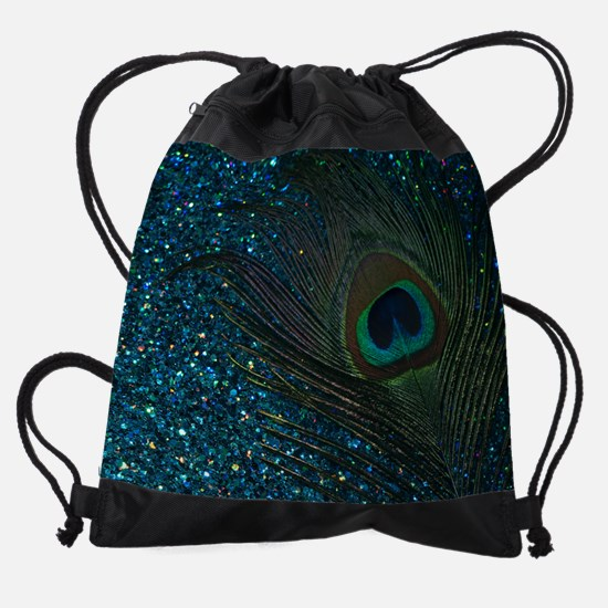 Glittery Aqua Peacock Drawstring Bag